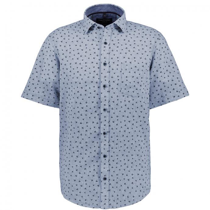 Leichtes Leinenhemd mit Palmen Allover-Print, kurzarm jeansblau_101 | XXL