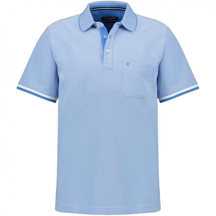 Poloshirt in melierter Optik, kurzarm hellblau_102/42 | 3XL