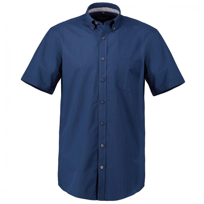 Strukturiertes Kurzarmhemd mit Button-Down-Kragen blau_100 | 7XL