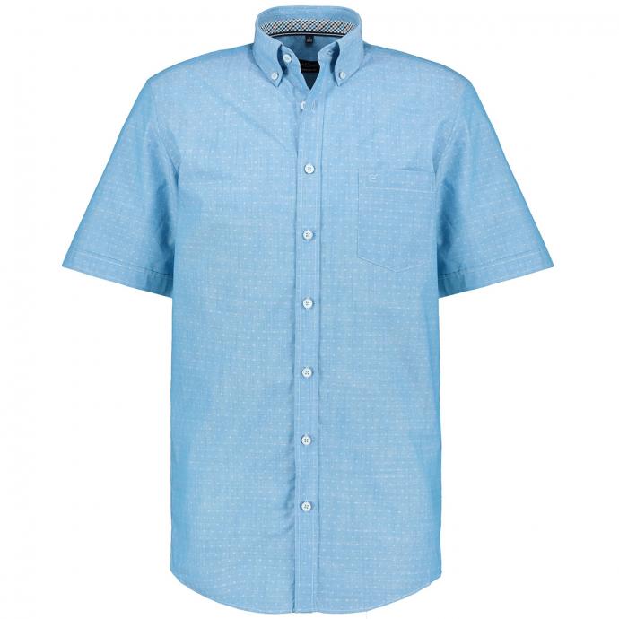 Strukturiertes Kurzarmhemd mit Button-Down-Kragen türkis_350 | XXL