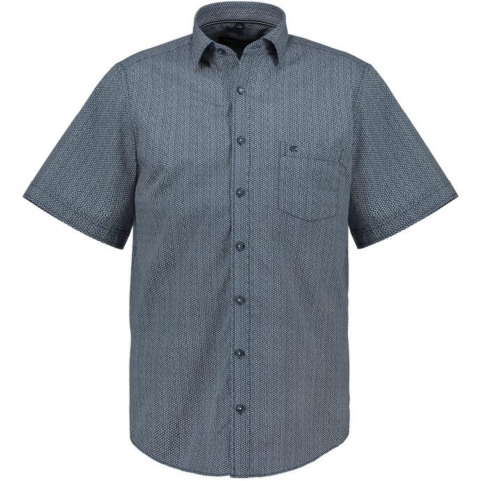 Kurzarmhemd mit Alloverprint blau/weiß_100/4020 | XXL