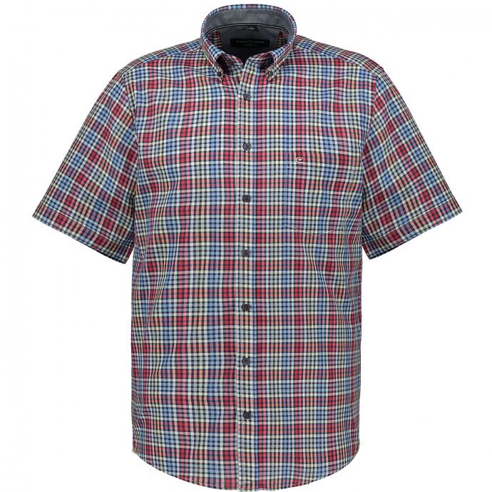 Kurzarmhemd mit Vichykaros und Button-Down-Kragen rot_400 | XXL