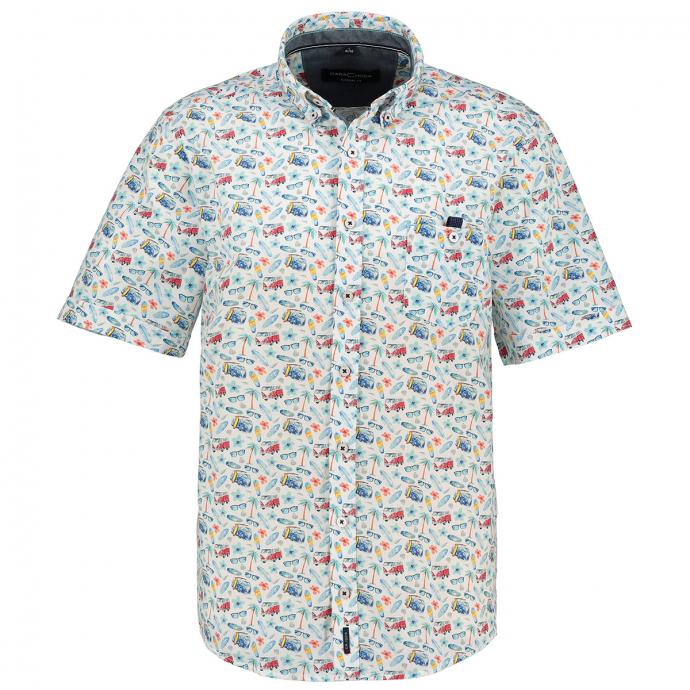 Modisches Freizeithemd mit Urlaubsmotiven kurzarm türkis_350 | XXL