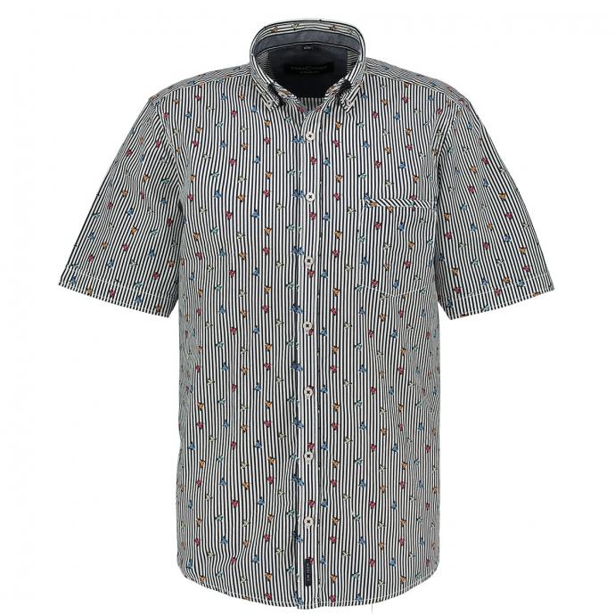 Gestreiftes Freizeithemd mit Roller Motiven, kurzarm blau/weiß_100/4020   XXL
