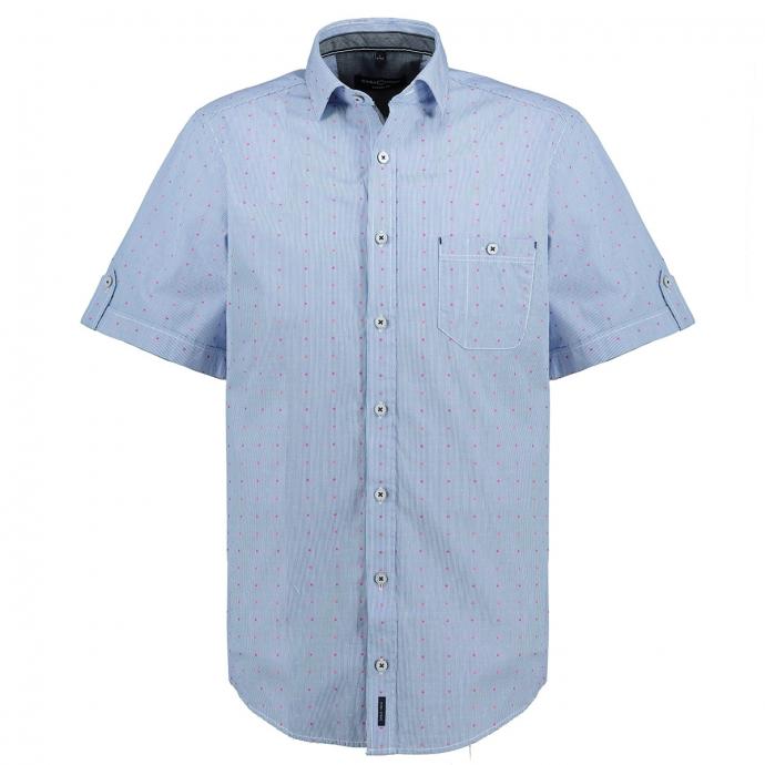 Legeres Freizeithemd mit dezentem Streifenmuster, kurzarm blau_100   XXL