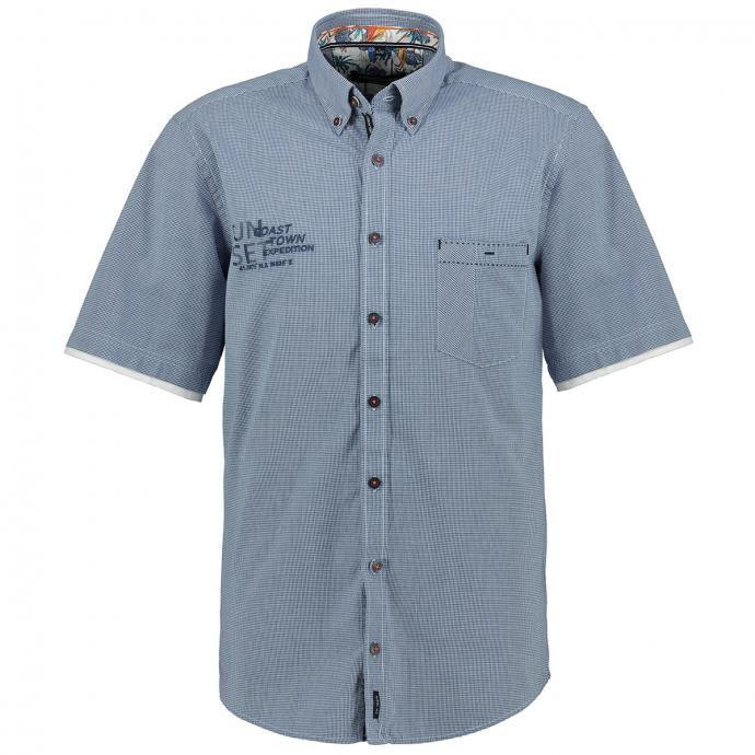 Kurzarmhemd mit dezentem Karomuster blau/weiß_100/4020 | XXL