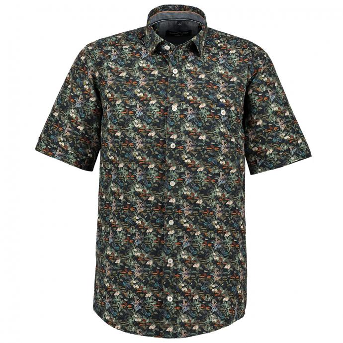 Freizeithemd mit floralem All-Over Print, kurzarm grün_300 | 3XL