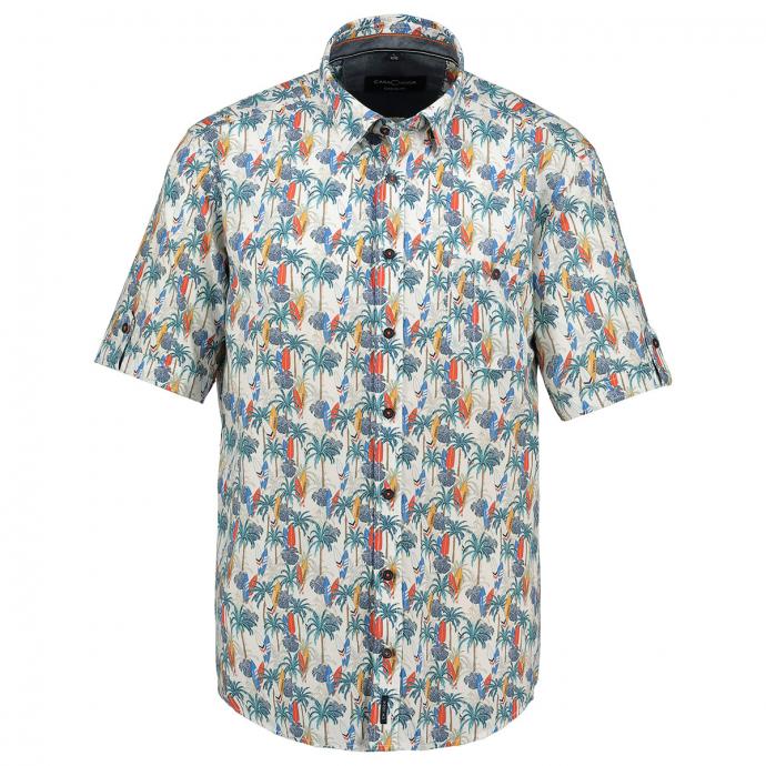 Sommerliches Freizeithemd mit All-Overprint, kurzarm grün/weiß_450/6020 | 3XL