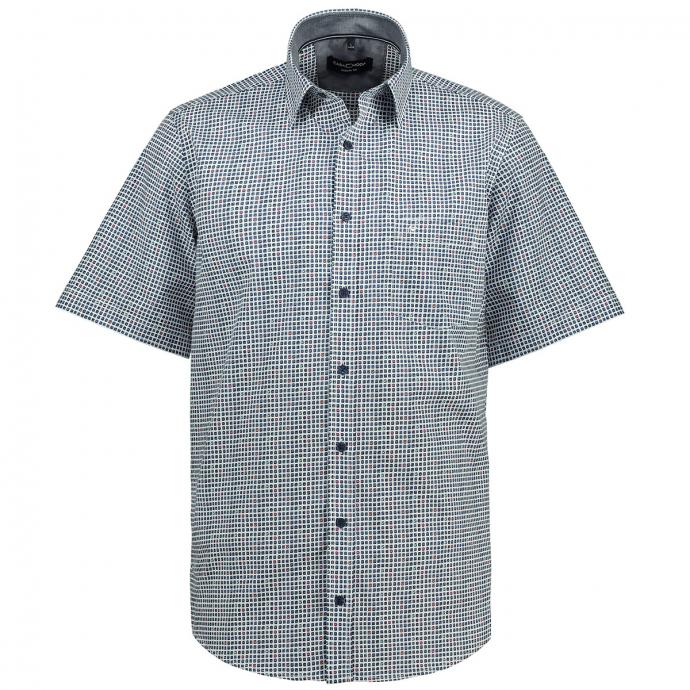 Freizeithemd mit Karo-All-Over Print, kurzarm blau/weiß_100/4020 | XXL