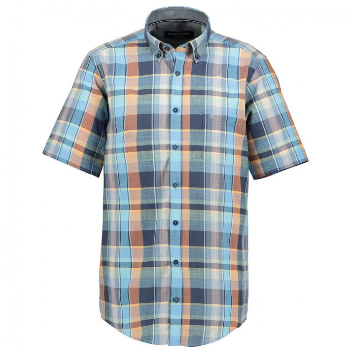 Kariertes Kurzarmhemd blau_450/40 | 5XL