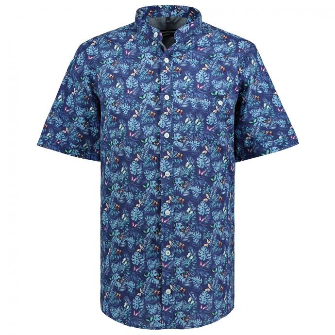 Sommerliches Freizeithemd mit floraler Allover-Print, kurzarm blau_100 | XXL