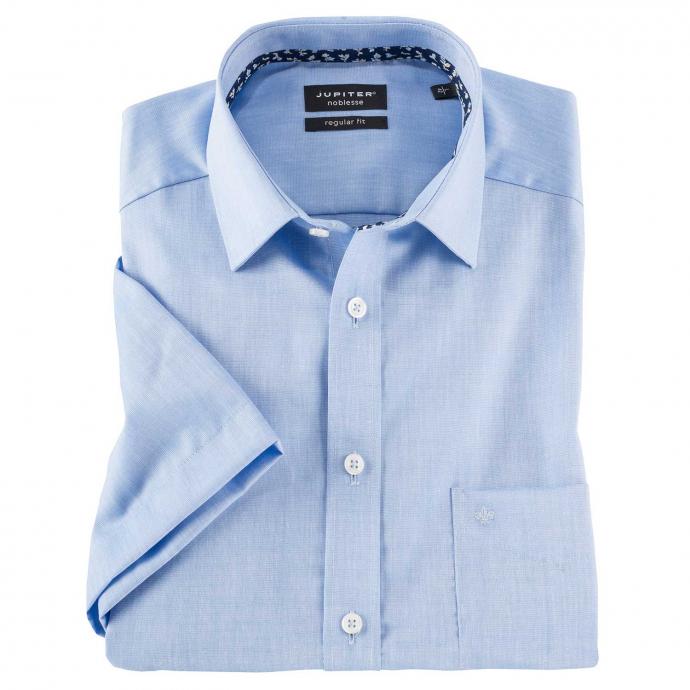 Bügelfreies Cityhemd mit kurzem Arm und Brusttasche blau_110 | XXL