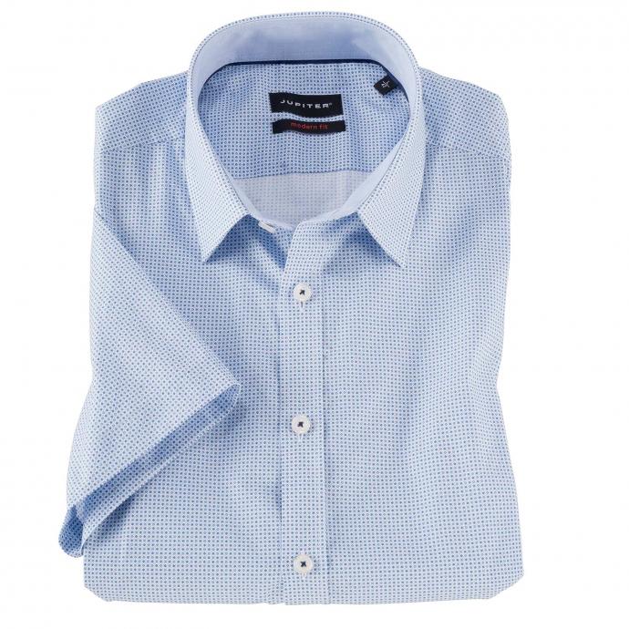 Kurzarm Cityhemd mit dezentem Allover Print blau/weiß_175/4020 | 3XL