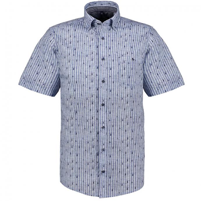 Lässiges Kurzarm-Freizeithemd in Streifenoptik blau/weiß_100/4020 | XXL