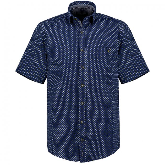 Modisches Kurzarm-Hemd mit auffälligem Allover-Print blau_100 | XXL