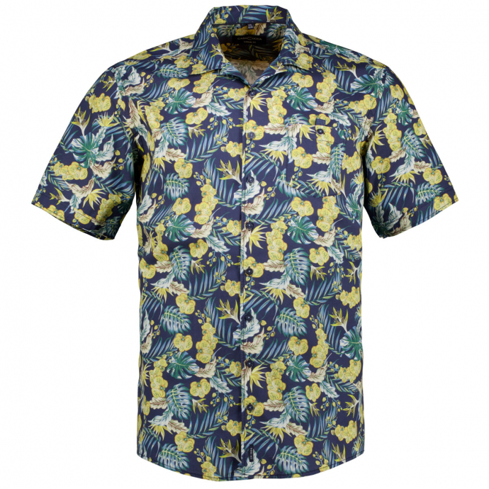 Baumwollhemd mit Tropical-Allover-Print, kurzarm blau_100   XXL