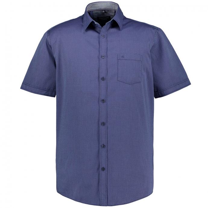 Freizeithemd mit Micro-Alloverprint,  kurzarm blau_100 | XXL