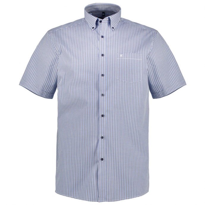 Leichtes, gemustertes Freizeithemd, kurzarm blau_100 | XXL