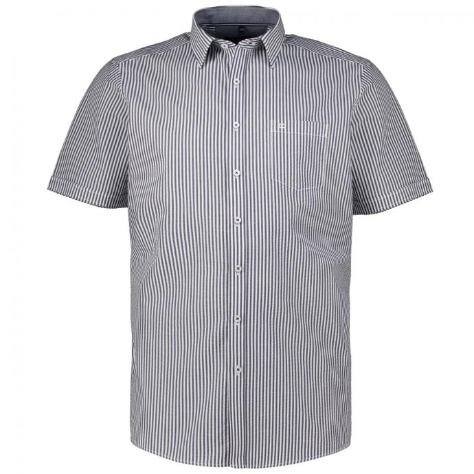 Baumwollhemd in Seersucker-Qualität, kurzarm blau_102/40 | XXL