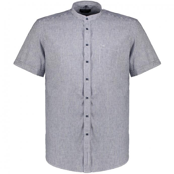 Leinen-/Baumwollhemd mit Streifen, kurzarm blau/weiß_101/4020   XXL