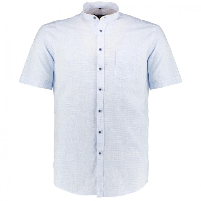 Strukturiertes Leinenhemd mit Stehkragen, kurzarm blau/weiß_100/4020 | XXL