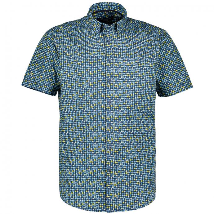 Freizeithemd mit Tupfenprint, kurzarm blau_100 | XXL