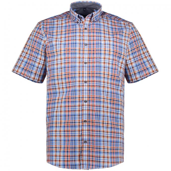 Kariertes Freizeithemd, kurzarm blau/orange_100/4055 | XXL
