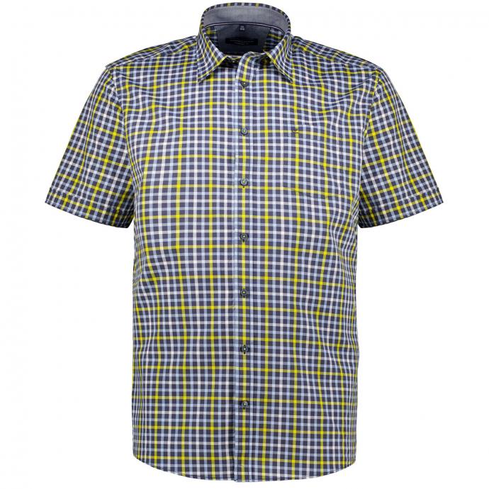 Kariertes Freizeithemd, kurzarm blau/anthrazit_750/4035   XXL