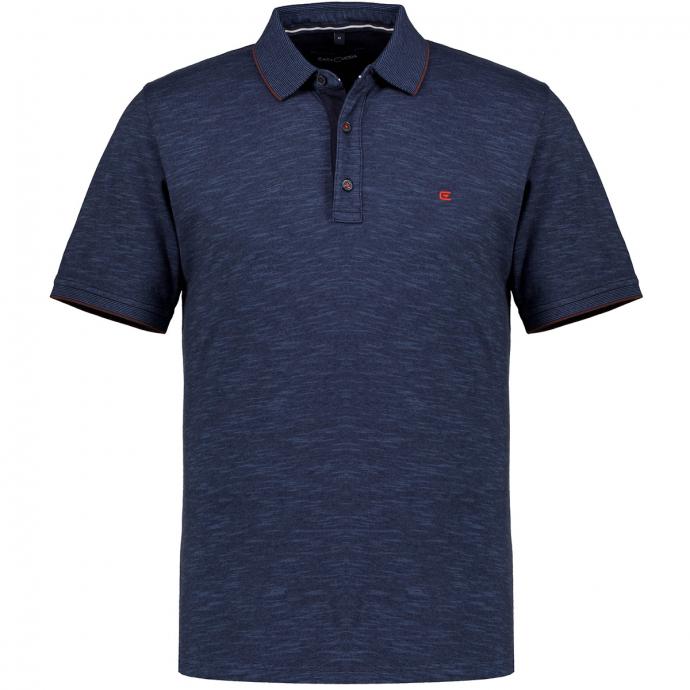 Poloshirt in melierter Optik, kurzarm dunkelblau_105/400 | 3XL