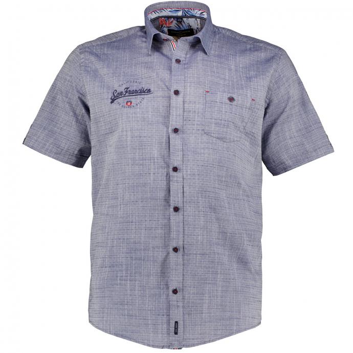 Leichtes Freizeithemd mit Kontrastdetails, kurzarm blau_100 | XXL