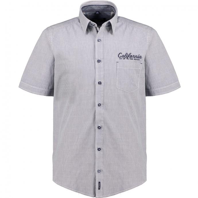 Freizeithemd gestreift mit Stickelement, kurzarm blau/weiß_100/4020   XXL