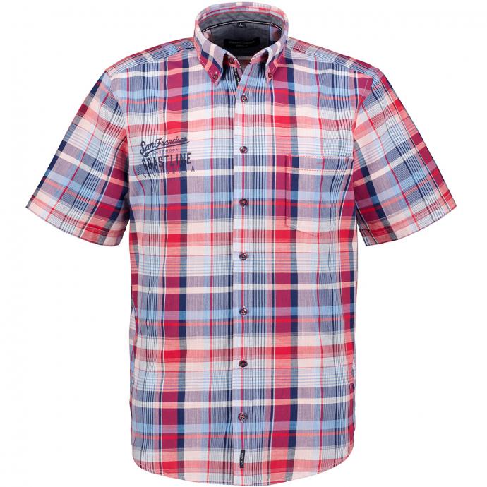 Freizeithemd kariert mit Stickelement, kurzarm blau/rot_400/4050 | XXL
