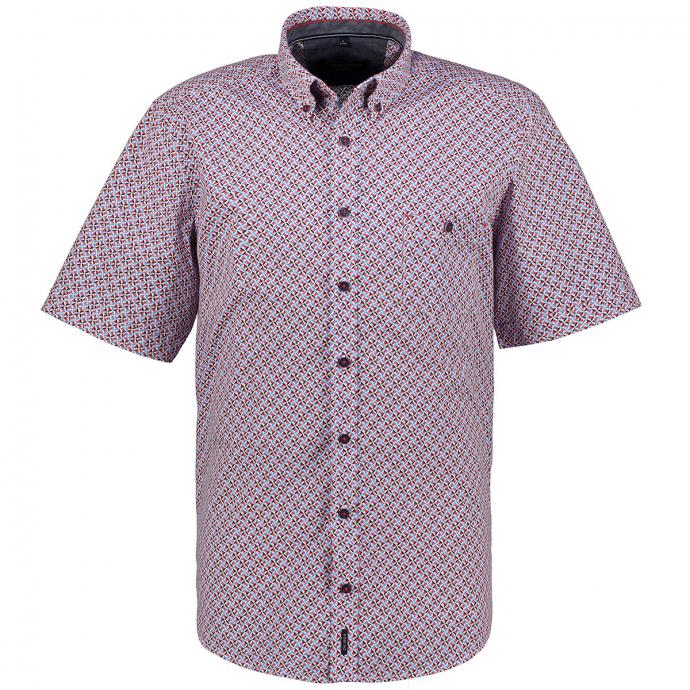 Freizeithemd mit graphischem Alloverprint, kurzarm blau/rot_400/4050 | XXL