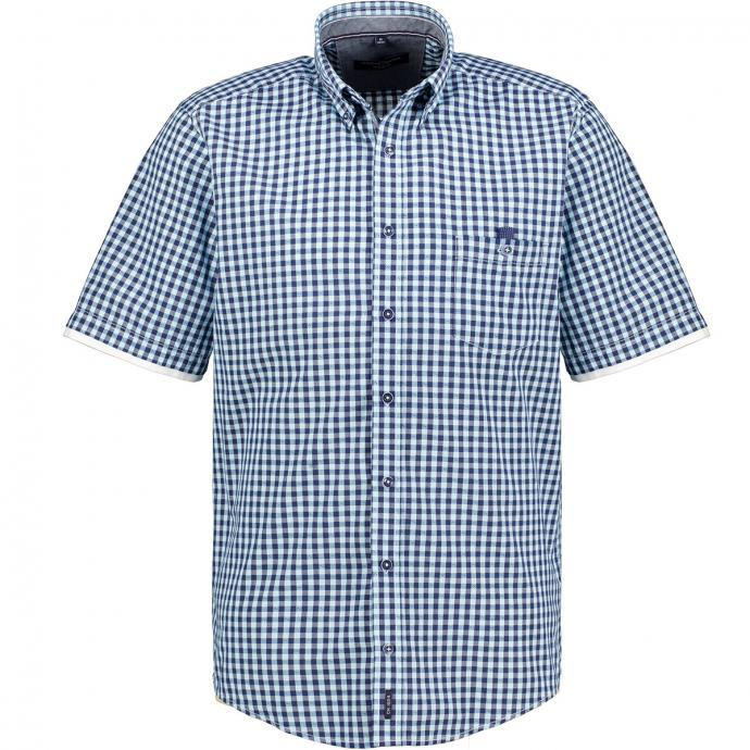 Freizeithemd im Mini-Karomuster, kurzarm blau/dunkelblau_100/4040 | XXL