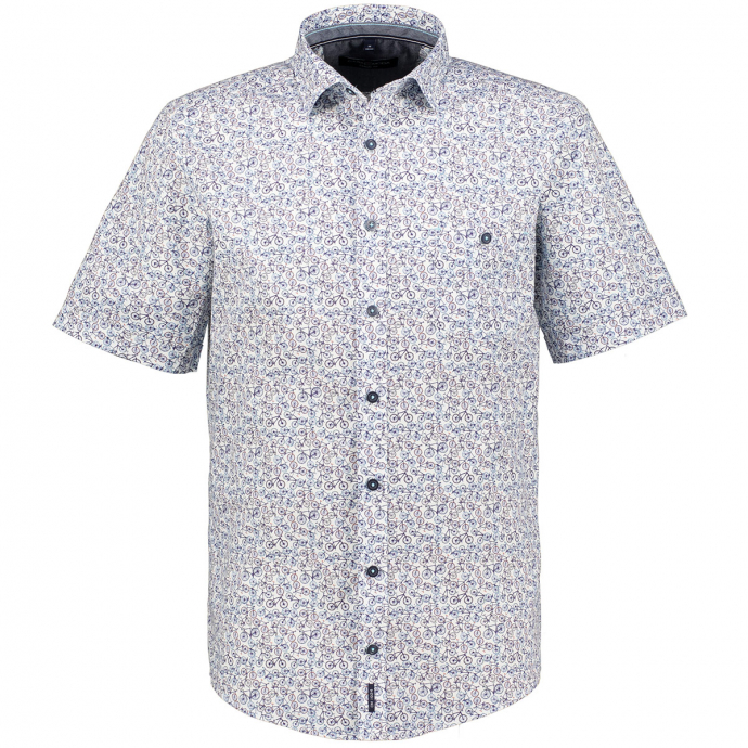 Freizeithemd mit Allover-Print, kurzarm blau/weiß_101/4020 | XXL