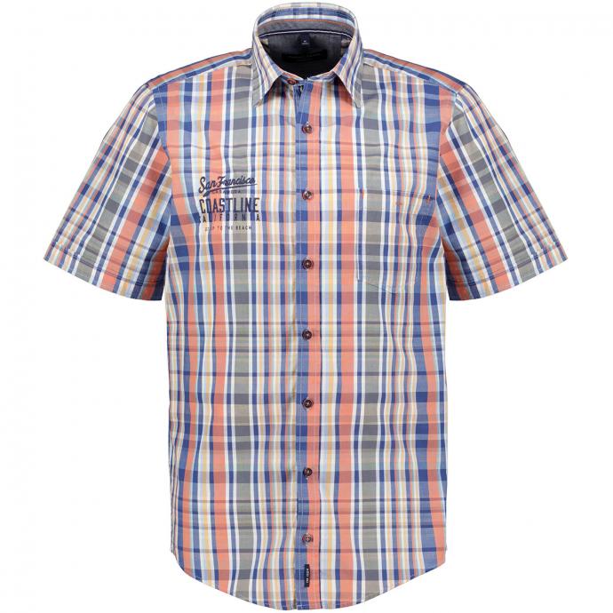 Freizeithemd kariert mit Stickerei, kurzarm blau/orange_100/4055 | XXL