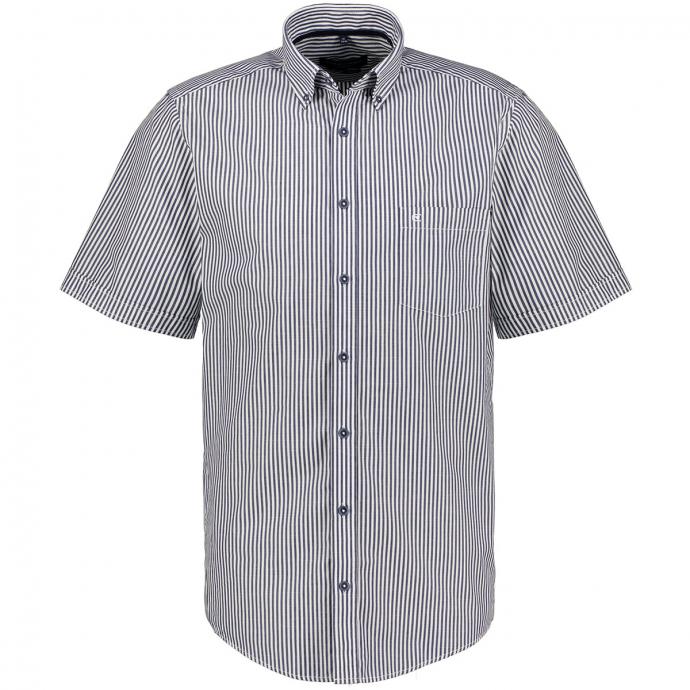 Freizeithemd gestreift, kurzarm blau/weiß_100/4020 | XXL