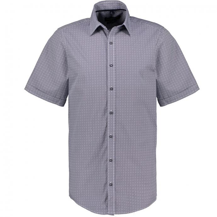 Freizeithemd mit graphischem Micromuster, kurzarm blau/weiß_100/4020   XXL