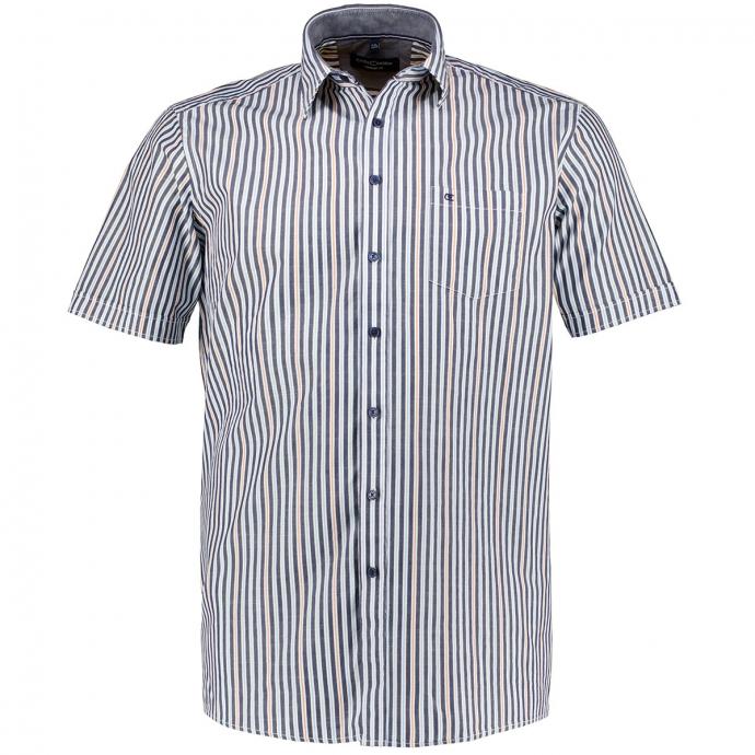 Gestreiftes Freizeithemd aus Baumwolle, kurzarm blau_100 | XXL