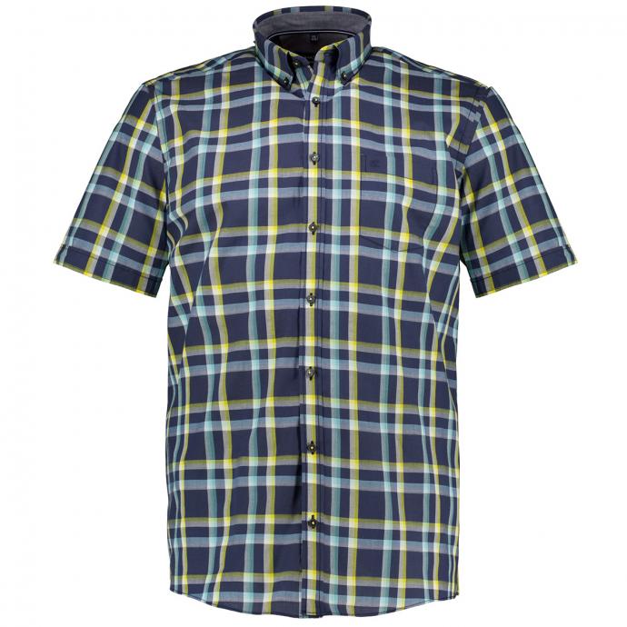 Leicht strukturiertes Karohemd aus luftiger Baumwolle, kurzarm blau/gelb_750/4070 | XXL