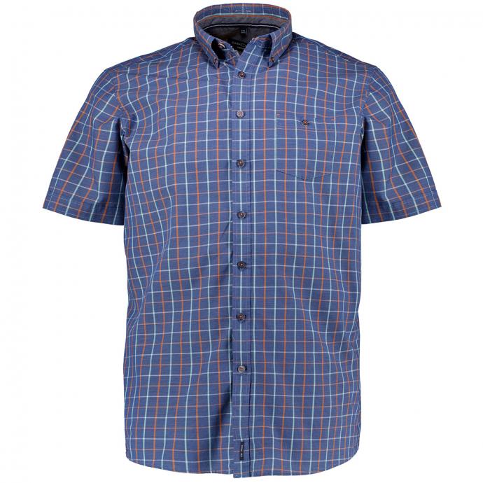 Baumwollhemd mit Karomuster, kurzarm blau/orange_450/4055 | XXL