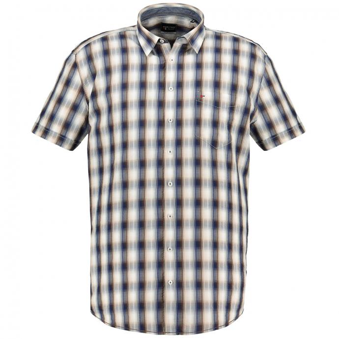 Cooles Casual Freizeithemd mit Seersuckerstruktur, kurzarm blau/grau_256/4030 | 3XL