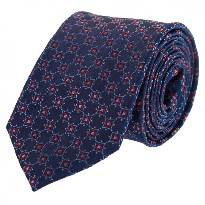 Seidenkrawatte mit modischem Muster blau/rot_58/4050 | One Size