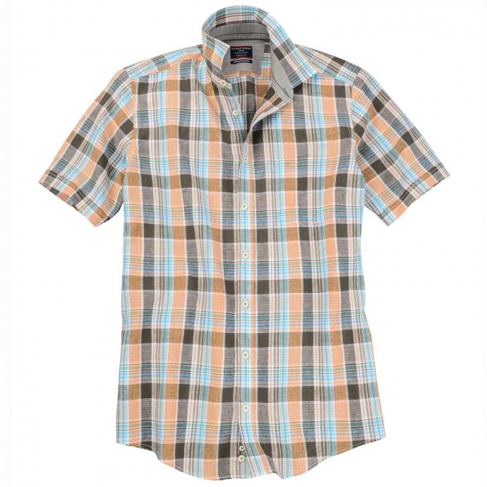 Komfortables Freizeithemd mit Karomuster, kurzarm orange_4500   XXL