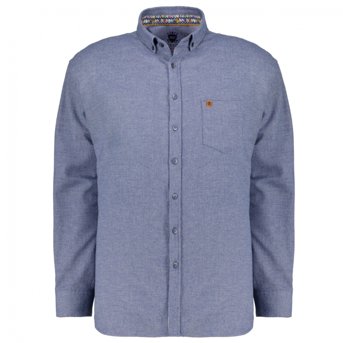 Hochwertiges Freizeithemd aus flanellweicher Baumwolle blau_130   4XL