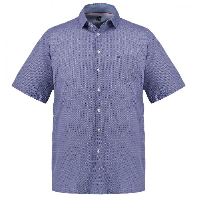 Kurzarmhemd mit Alloverprint blau_176   XXL