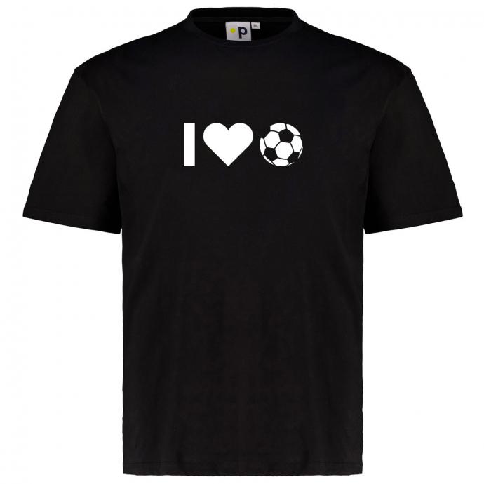 """Motto T-Shirt aus Baumwolle """"I Love Fussball"""" schwarz_700   3XL"""