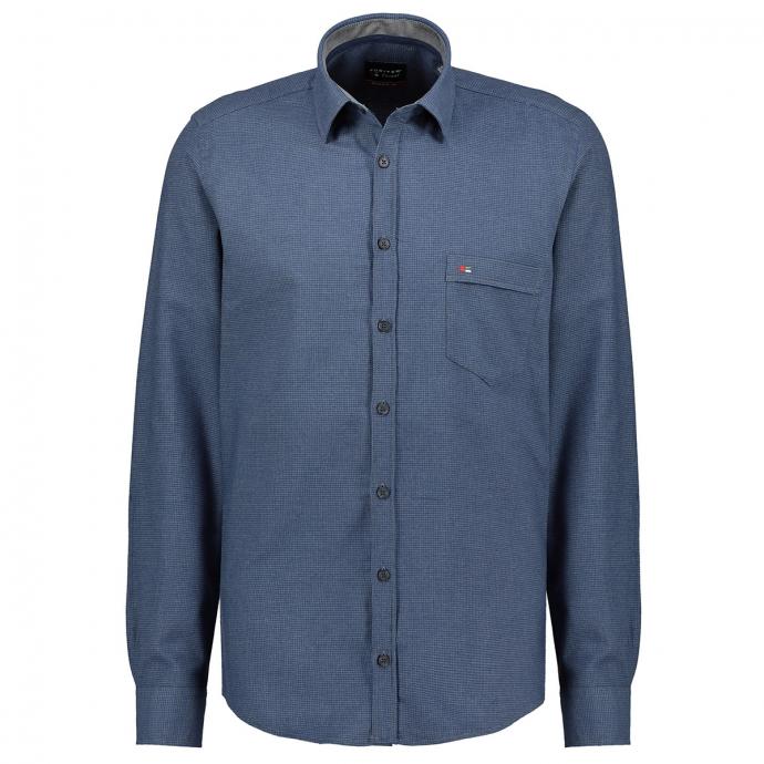 Leichtes Flanellhemd mit dezenter Struktur, langarm blau_129 | XXL