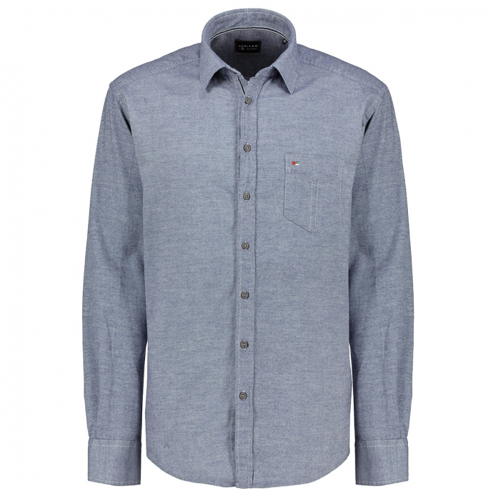 Strukturiertes Freizeithemd aus leichtem Flanell, langarm blau_129 | XXL