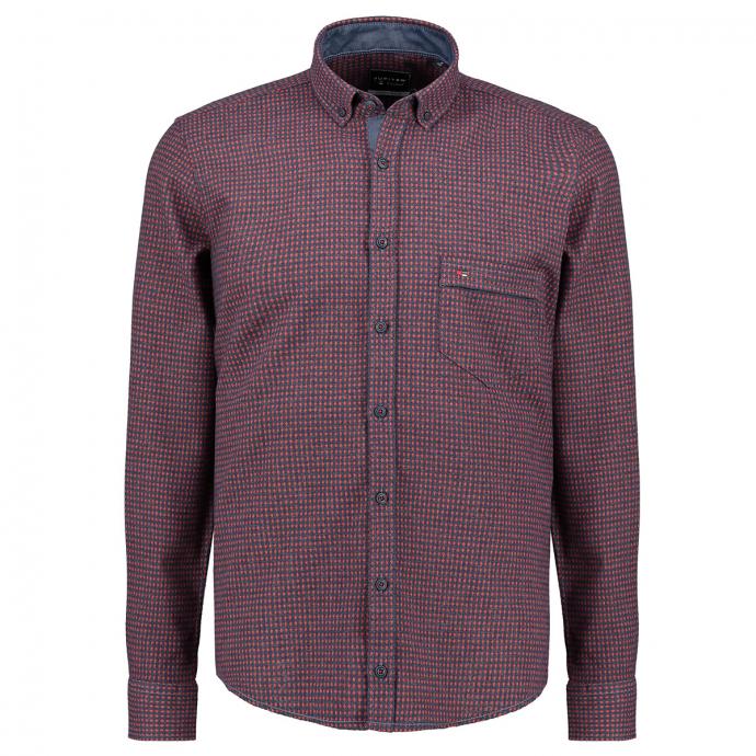 Lässiges Freizeithemd mit Muster und Brusttasche rot_354 | XXL